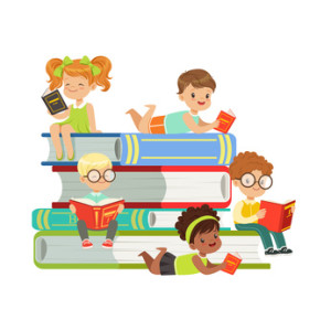 Cute boys and girls sitting on a pile of books and reading books, kids enjoying reading, colorful characters vector Illustration